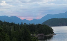 Mountains, water, sunset, BC