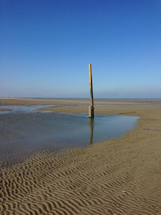 High tide markers, Koksijde, Belgium